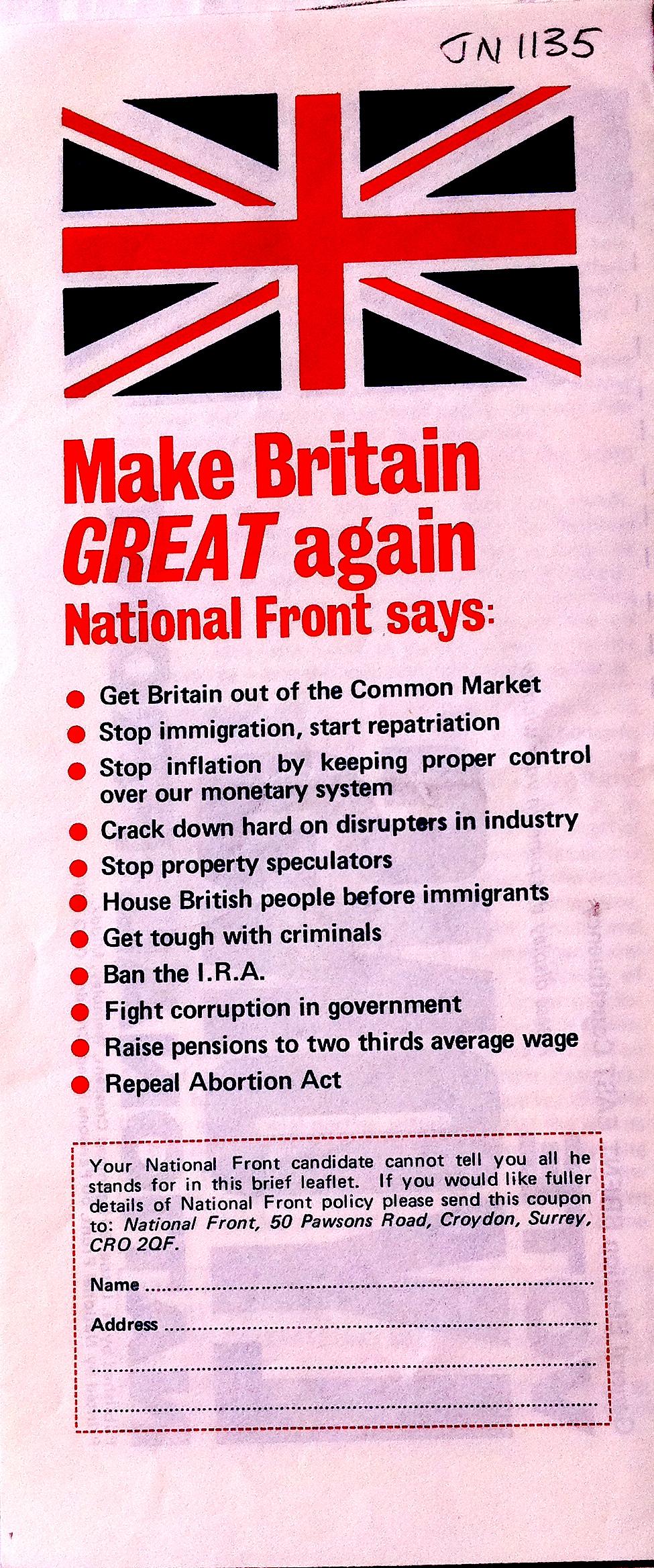 National Front leaflet