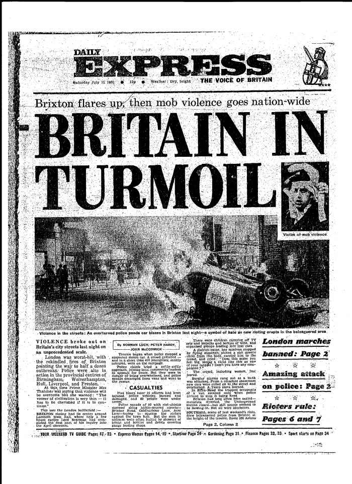 Brixton exploded first then riots spread across the UK in 1981
